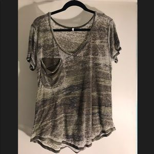 Z Supply Thin Burnout Camo V Neck